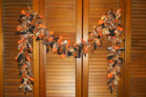 HALLOWEEN RAG GARLAND,6 feet,Orange & Black, Homespun, Country, Shabby