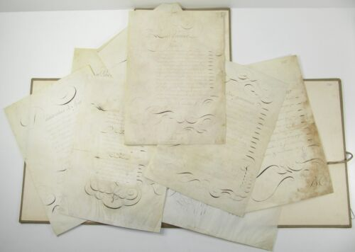 CALLIGRAPHY Collection 9 18th Century French Manuscript Poems POETRY VELLUM