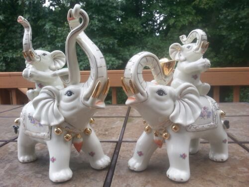 "1 Pair Chinese Elephant Statue Lucky Wealth Figur 11""5 H ( Porcelain )"
