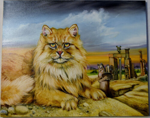 MARTIN KATON PERSIAN CAT & PERSIAN TEMPLE ORIG. OIL PAINTING CANVAS SIGNED W/COA
