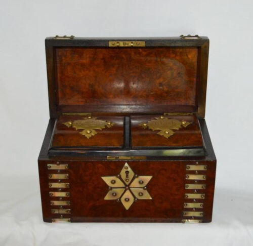 Antique Tea Caddy English Walnut Burl & Mother of Pearl Dome Casket 1800's
