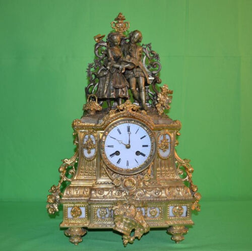 ANTIQUE FRENCH GILT BRONZE CLOCK c.1850 Victor Cailly