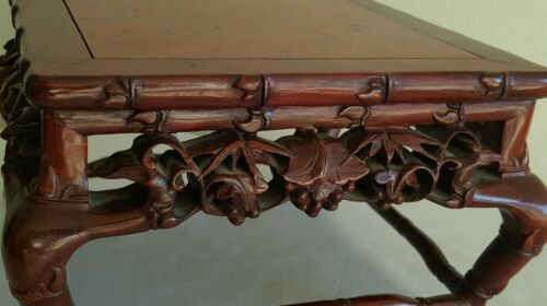 """Superb Rare Old Chinese Hand Carved Rose Wood Detailed Bamboo Stand 8 1/2"""" Width"""