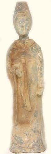 600AD Ancient Medieval China Sui Tang Dynasty Painted Pottery Woman Statuette