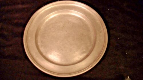 """Early Pewter Plate with Touch Marks & Engraved Monogram, 9 3/16"""""""