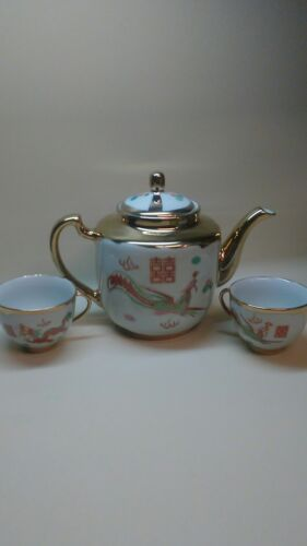 Chinese Porcelain Gold Teapot/2cups Gold with Red Dragon & Phoenix Red Mark