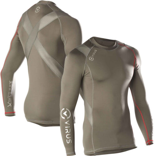 VIRUS Men's Stay Warm Long Sleeve X-Form Compression Crew Neck Shirt, (SiO5X)