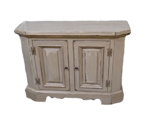 Vintage 2 Door Solid Pine Shabby Cottage Chic Shaped Accent Cabinet