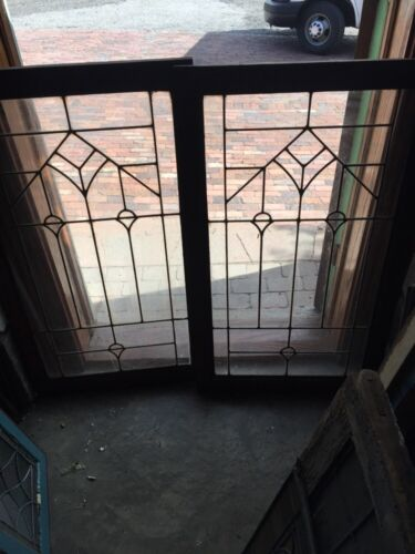 Sg 868 Two Available Price Separate Antique Leaded Glass Window /Cabinet Door