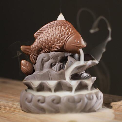 "Backflow incense burner incense cone burner lotus incense burner ""Lotus fish"""