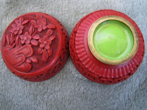 Antique Chinese Round Red Cinnabar Lacquer Box