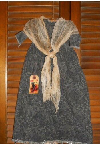 Prim WALL DRESS w/hanger Primitive Decor OLD WITCH, HAG Halloween, Grungy