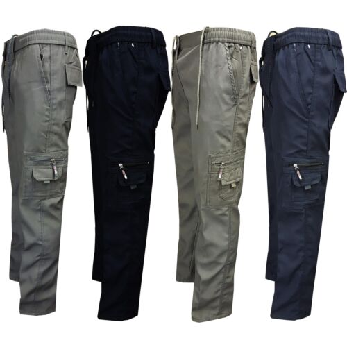 Mens Fleece Lined Winter Thermal Elasticated Work Trousers Cargo Combat Pants <br/> over 3000 Sold. *Stunning and Supreme Quality ****