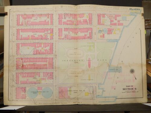 New York Manhattan Map, 1914 2nd Ave to Harlem River 110th to 116th Street R3#92