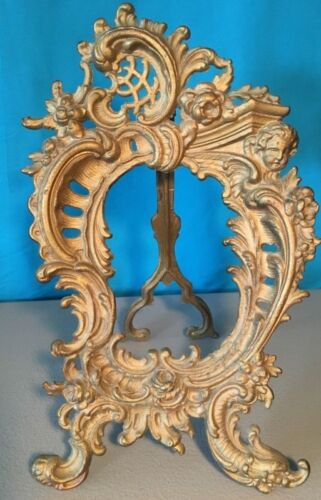 Antique Victorian French Rococo Brass Gilt Bronze Easel Picture Frame Cherub