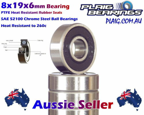 8x19x6mm Bearings (10) Precision Chrome Steel for Bicycle & RC 698-2RS