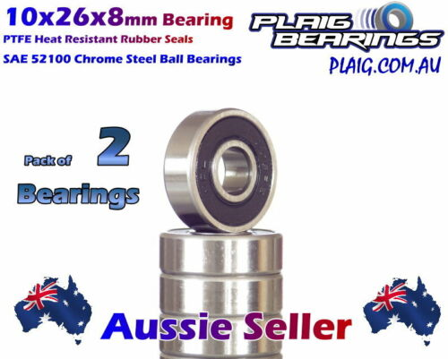 10x26x8mm Bearings (2) Precision Chrome Steel for Bicycle & RC 6000-2RS