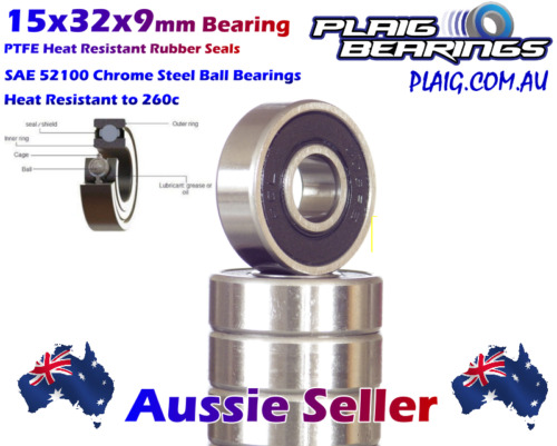 15x32x9mm Bearings (10) Precision Chrome Steel for Bicycle & RC 6002-2RS