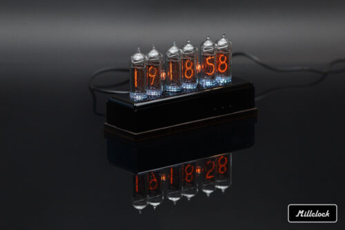 IN-14 NIXIE TUBE CLOCK ASSEMBLED ACRYLIC ENCLOSURE  ADAPTER 6-tubes by MILLCLOCK <br/> RGB SIX DIGIT CLOCK WITH GPS ALARM OPTION