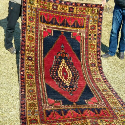 """Exquisite Authentic Antique 1900-1930s Wool Pile Natural Dye Tribal Rug 4'3""""×8''"""