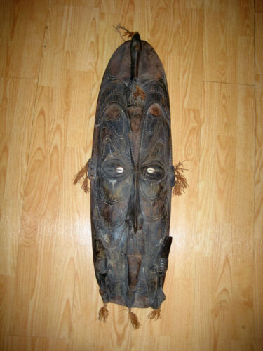 "Antique Large 37"" x 12"" Papua New Guinea Wooden Hardwood Mask Carved Birds"
