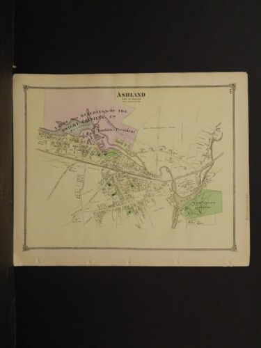 Massachusetts Middlesex County Map 1875 Town of Ashland !Z3#87