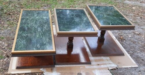3 GREEN MARBLE AND WOOD TABLES 1 OF A KIND MARBLE FROM OLD BANK BUILDING DEMO'D