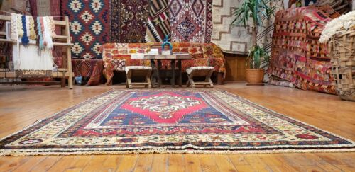 """Traditional Antique 1930-1940's Wool Pile Natural Color Area Rug 4'9""""×9'4"""""""