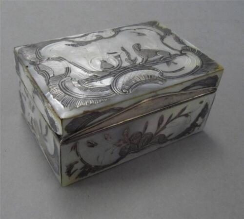 18th c. French Silver & Mother of Pearl Box Paris 1753