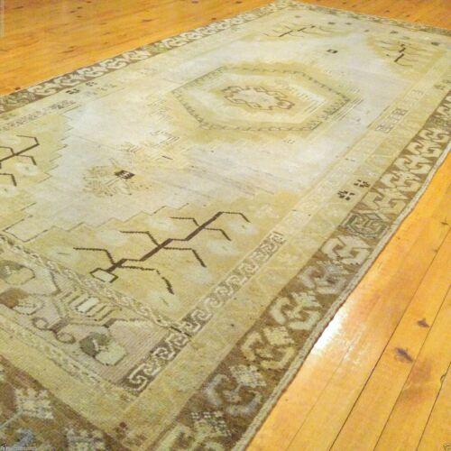 Lovely Antique Cr1900-1939s 4x9ft Muted Colors Natural Dyes Oushak Rug