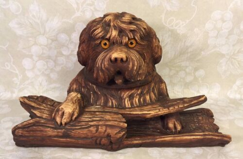 Vintage Carved Wood Black Forest Dog Sitting on Log Inkwell