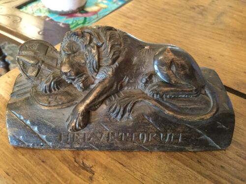 Black Forest French Treen Carving of Lion of Lucerne Monument French Revolution