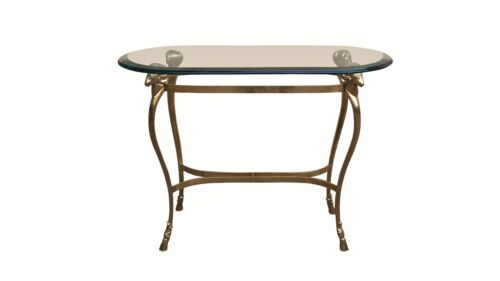 Maison Jansen Style Solid Brass and Beveled Glass Accent Table