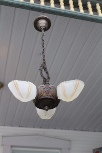 ANTIQUE ART DECO SLIP SHADE CEILING LIGHT FIXTURE CHANDELIER 3 SHADE ELECTROLIER