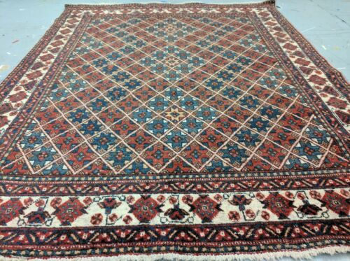 Antique Armenian Star Patterned c1900-1939's Wool Pile Rug 5x6ft