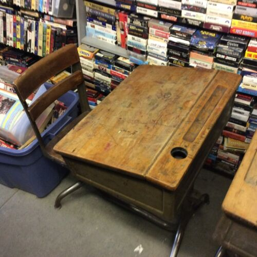 Vintage Old Wooden School Desks With Attached Swivel Chair