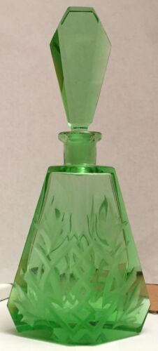 Vintage Green Wedge Shaped Czechoslovakian Perfume Bottle With Pentagon Stopper