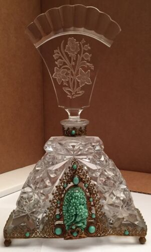 "Extremely Rare Antique 9"" Tall Cut Crystal Czechoslovakian Perfume Bottle"