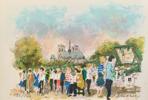 Urbain Huchet THE BOOKSELLERS OF PARIS Hand Signed Limited Edition Lithograph