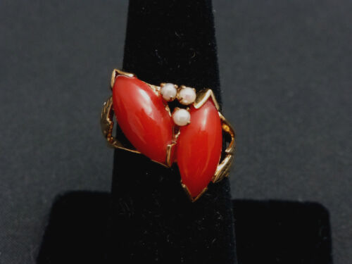 Beautiful Chinese Vintage Deep Red Coral and 10k Gold Ring Size 5 1/2