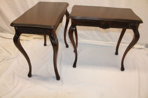 Charming Pair of French Country American Made Mahogany Carved Side End Tables