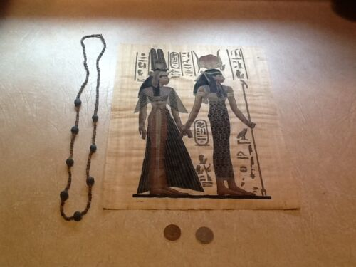 EGYPT QUEEN MUMMY NECKLACE 600-300BC 2 COIN PAPYRUS  Certificate of Authenticity