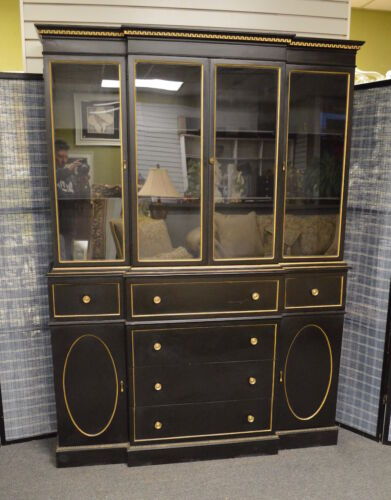 Vintage/Antique 2 Piece Directoire Style Mahogany Bookcase/China Cabinet