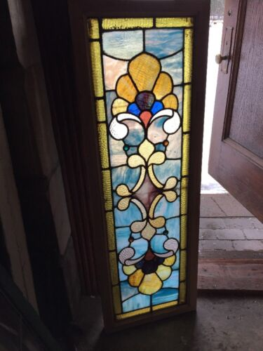 Sg 1082 Antique Very Vibrant Transom Stainglass Window