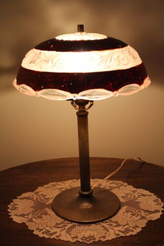 ANTIQUE TABLE DESK SIDE LAMP OLD BASE WITH VINTAGE SHADE