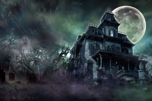 HAUNTED HOUSE - ART POSTER PRINT - PARANORMAL ACTIVITY GHOSTS SCARY MANSION