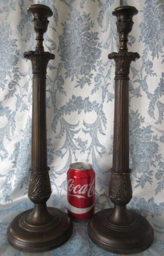 """Vintage Bronze Candle Stick Holders Large 17"""" Tall Pair Empire Style"""