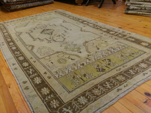 """Antique Cr1900-1939s 4'5""""×8'3"""" Gold-Ivory Colors Wool  Pile Area Rug Must See"""