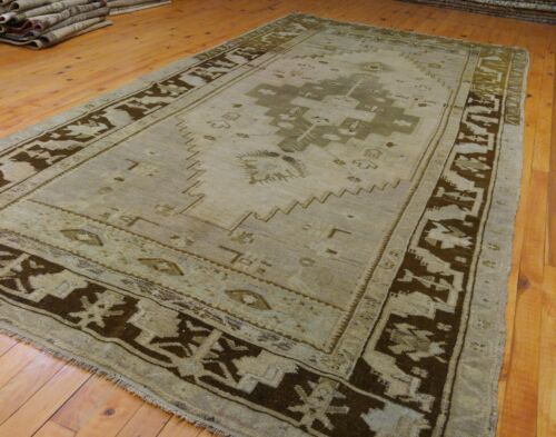 """Antique Ca1900-1939's Muted Color Natural Dye Bohemian Oushak Rug 4'6""""×9'6"""""""