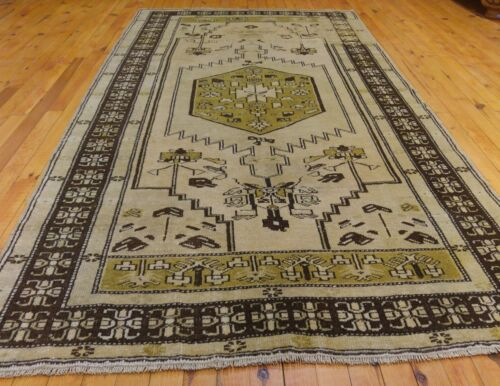 """Fine  Antique Cr1900-1939s Muted Dye Wool  Pile Oushak Area Rug 3'9""""x7'7"""""""